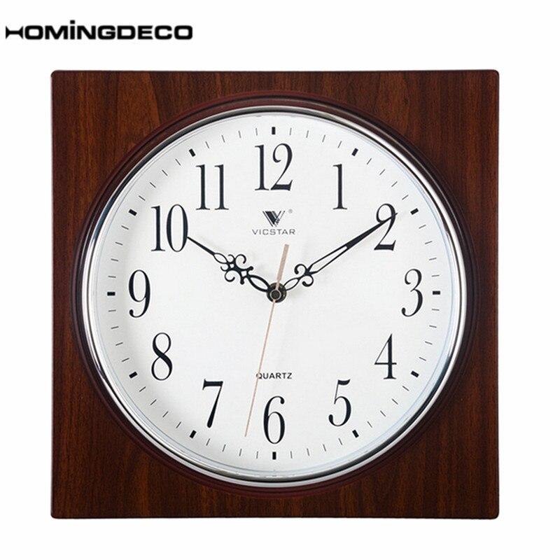 Homingdeco européenne Style rétro horloge murale vintage chambre bureau salon carré muet horloge à Quartz décor mural Grain de bois