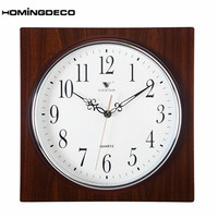 homingdeco European Retro Style Wall Clock vintage Bedroom Office livingroom Square Mute Quartz Clock Wall Decor Wood Grain