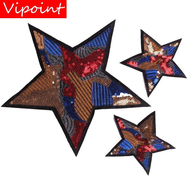 Vipoint Embroidery Sequins Big Star Patches Camouflage Patches Badges Applique Patches For Clothing Zk-33 Harmonious Colors Clothing, Shoes & Accessories