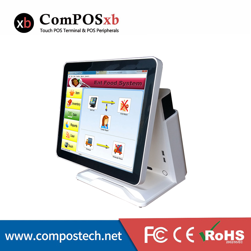 POS1618--Shenzhen ComPos Cheap 15'' Pure Touch Screen All in One Touch Screen POS System/POS Terminal With VFD Customer Display