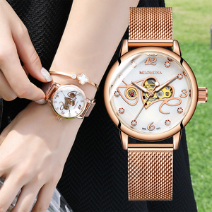 Image 4 - אופנה יוקרה שעון נשים אהבת דפוס אוטומטי מכאני שעונים מלא נירוסטה רוז זהב רשת חגורת גבירותיי שעון יד