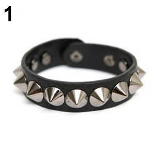 Punk Rock gótico imitación cuero remache broche pulsera brazalete pulsera