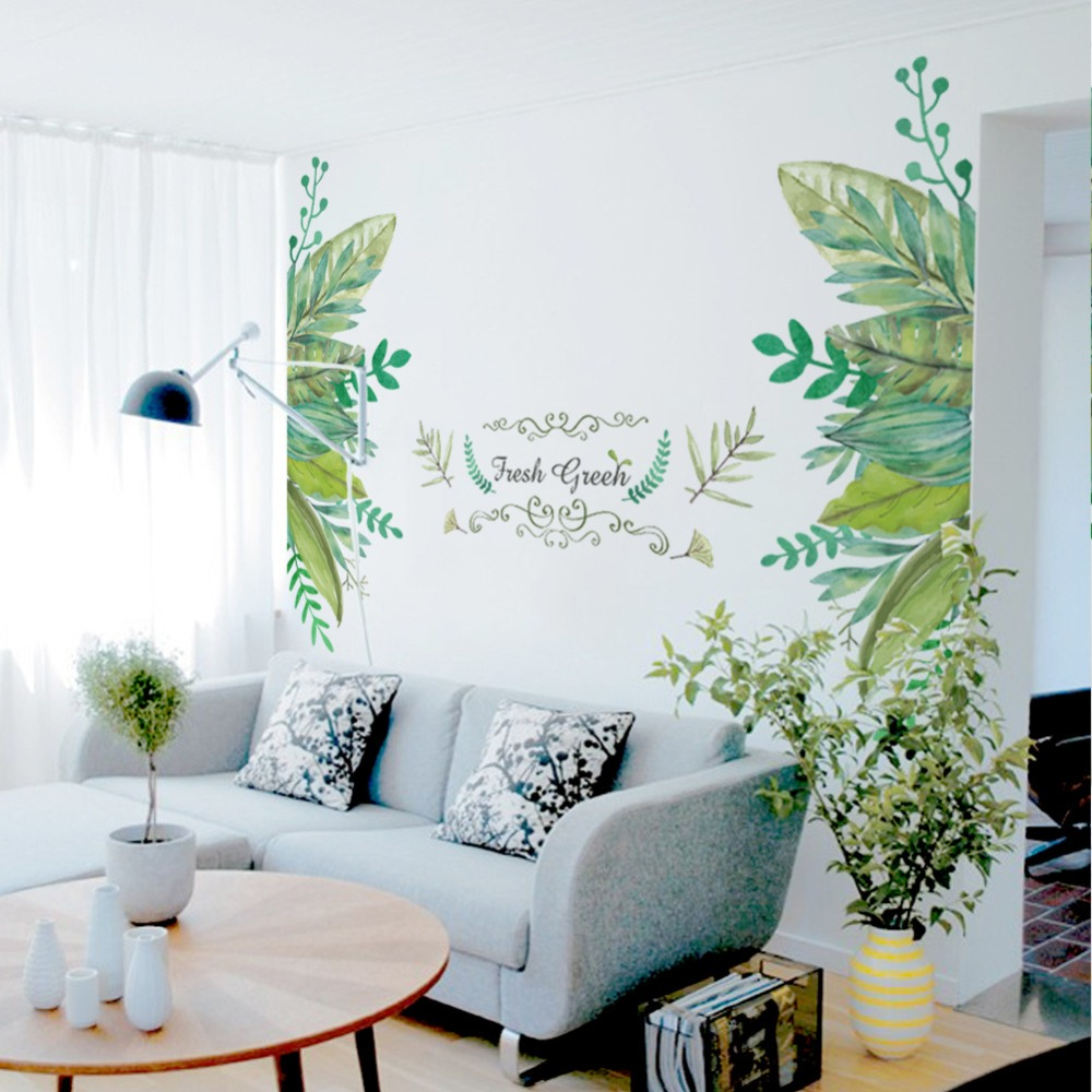 European Style Leaves Fake Metal Scroll Fresh Green Wall Sticker Quote Home Decor Wallpaper Poster Art Background Wall Decals