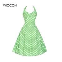 Letnia sukienka kobiety jasny zielony sukienka śliczna dziewczyna bez rękawów halter collar kolano długość dot wzór sukienki slim lace-up odzież
