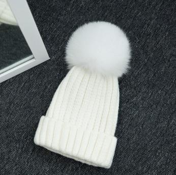 Haute qualité grand 16 cm réel renard fourrure pompon Beanie chapeaux tricotés Chapeau d'hiver Pour Femmes Filles Bonnet de Laine Tricoté Coton Bonnets Casquettes - 3