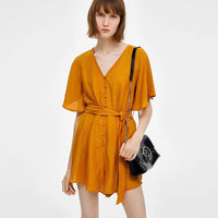 Jumpsuit Women Orange Rompers Womens Jumpsuit Short Flare Sleeve Lace Up Sashes 2019 Casual Loose Button Front Female Playsuits