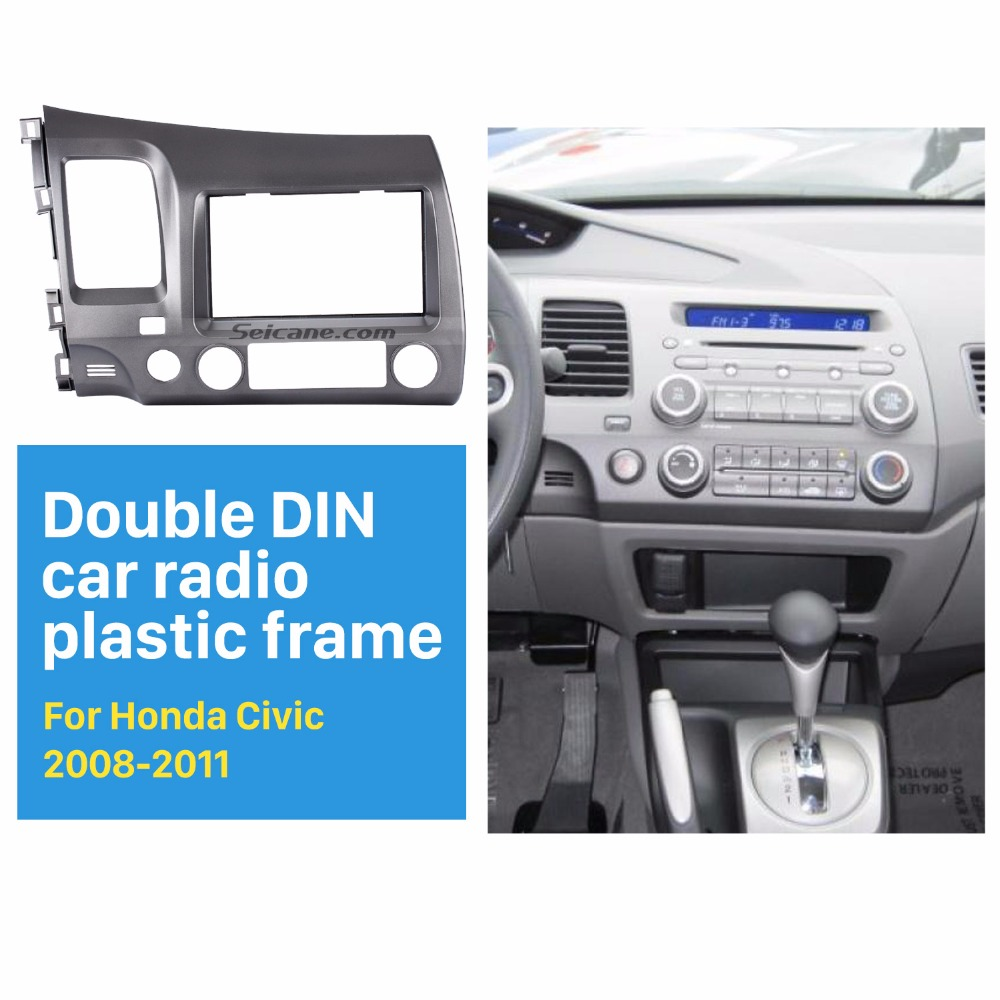 Seicane 2 Din Car Radio Fascia for 2006-2011 Honda Civic LHD with SRS Hole Installation Trim Dash Kits Stereo Radio Frame Auto