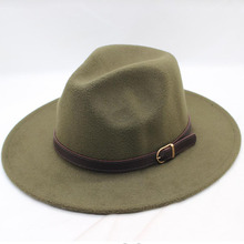 BINGYUANHAOXUAN Men Women Wide Flat Brim Wool Felt Formal Party Jazz Trilby Fedora Hat with Belt Metal Unisex Top Sunhat