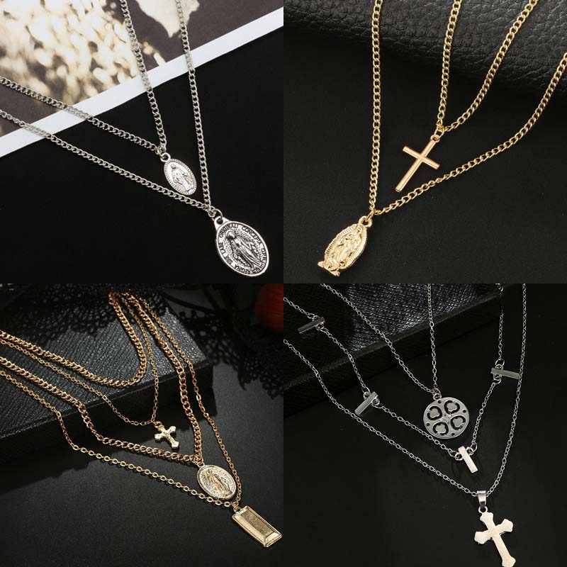 Cross Virgin Chain Alloy Cross Metal Rod 4 Layer Pendant Necklaces Bohemian Jewelery Goddess Catholic Choker Necklace