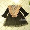[Aamina] Novo 2016 da Queda do outono vestido da menina elsa vestido de renda, 2-7A princesa party girl vestido, Atacado baby girl clothes 4449F5011