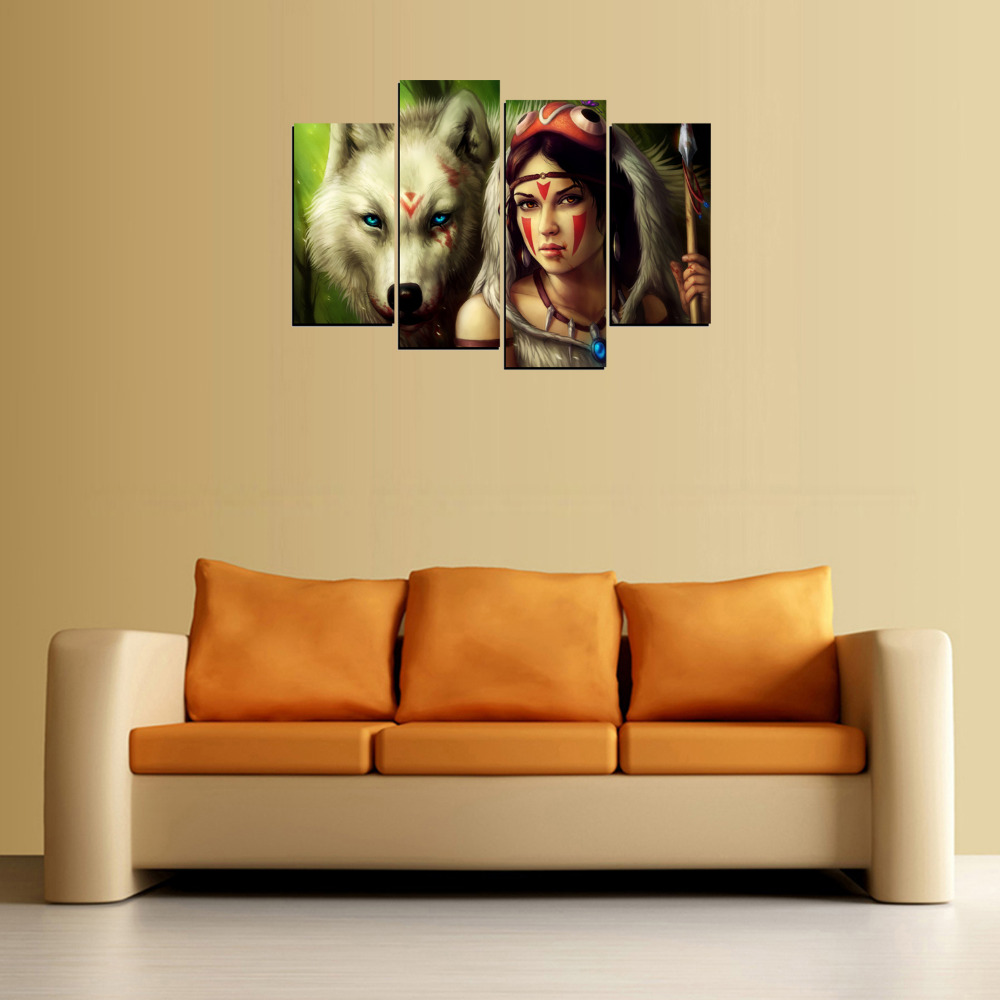 4 Panels White wolf And Fashion Girl Painting On Canvas Wall Art ...