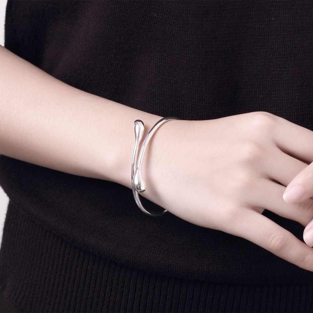 925 bạc trang sức Cưới Nước thiết lập Thả Bộ Đồ Trang Sức Nhẫn + Vòng Cổ Bangle + Bông Tai Phụ Nữ Bạc 925 Đóng Dấu Jewellry