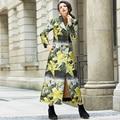 2016 S-3XL Старинные Цветок Тонкий X длинные Пальто Шанца Двойной Брестед Женщины Осенняя Мода Плюс Размер Макси Пиджаки Нагрудные Воротник