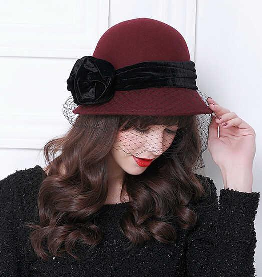 99e48358211e5 ... Vintage Women Wool Bucket Felt Veil Hat Party Wedding Velvet Bow Cloche Cap  Elegant Black Wine