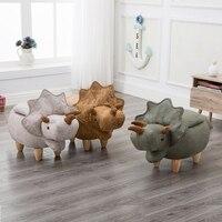 15%, forma de dinosaurio creativo taburete de madera robusto banco de zapatos sofá con tela bronceadora patas de madera Multicolor