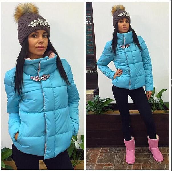 Ukraine Special Offer Solid No Zipper Slim Thick Sales 2017 Winter New Fashion Warm Coat Rhinestone Cotton Padded Personality цены онлайн