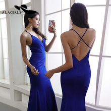 Alagirls 2019 New Arrival Sexy Mermaid Evening Dress Spaghetti Strap Gown Elegant Long Party dress Prom Dresses