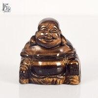 2inch Handmade Carved Budda Natural Tiger Eye Maitreya Happy Laughing Buddha Figurine Crystal Stone Home Decor