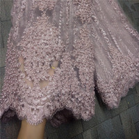 Fashion African Lace Fabric High Quality Pink Lace Nigerian Lace Fabric 2019 High Quality Lace With Beaded 5yards RF475