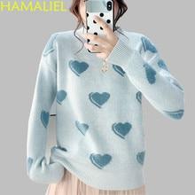 HAMALIEL de alta calidad pista de mujer de invierno suéter de las mujeres  de la moda imprimir patrón de manga larga de punto flo. 59b6df61e21ab