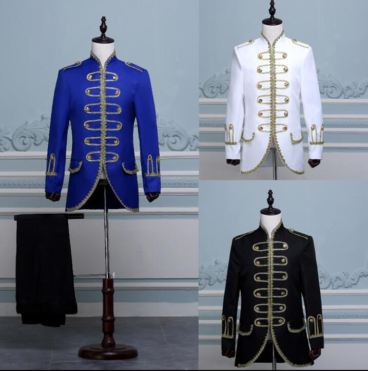 Singer Star Style Dance Stage Royal Clothing For Men Suit Set With Pants 2019 Mens Tuxedo Wedding Suits Groom Formal Dress