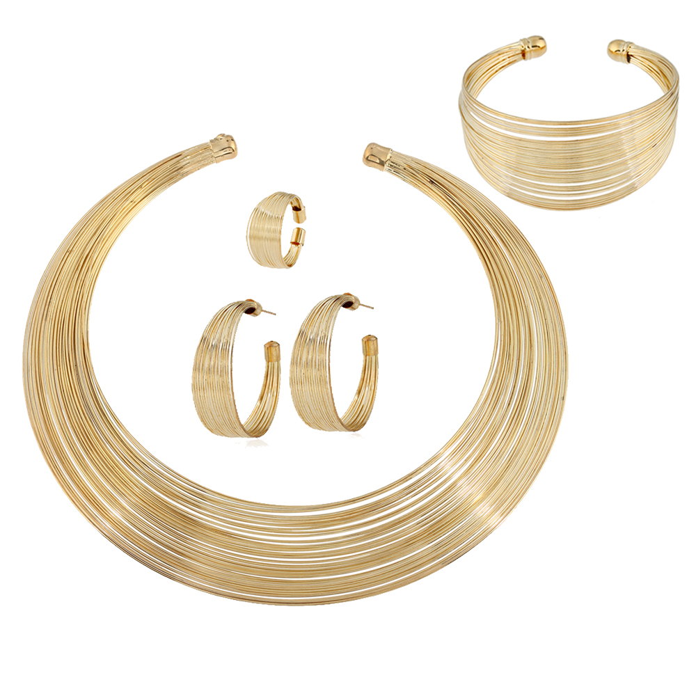 2018 Hot sale metal four piece suit necklace earring ring bracelet african bead jewelry set for bridal wedding