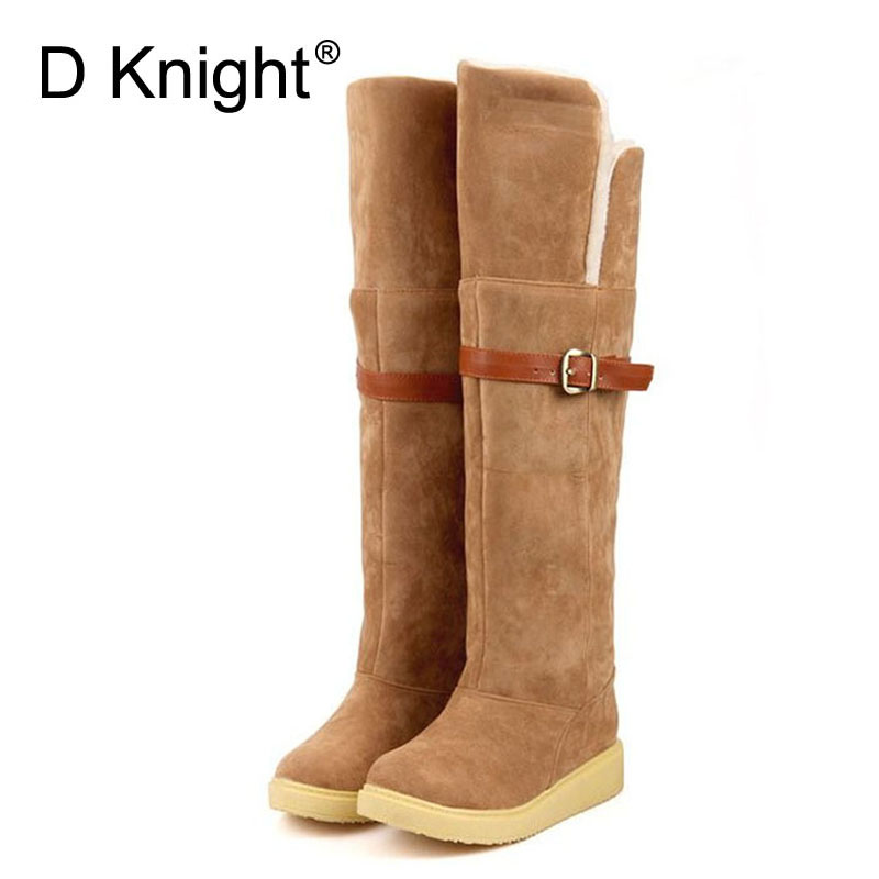 New 2017 Winter Over-the-knee High Boots For Women Vintage Warm Platform Snow Boots Plus Size 34-43 Black Brown Khaki Long Botas