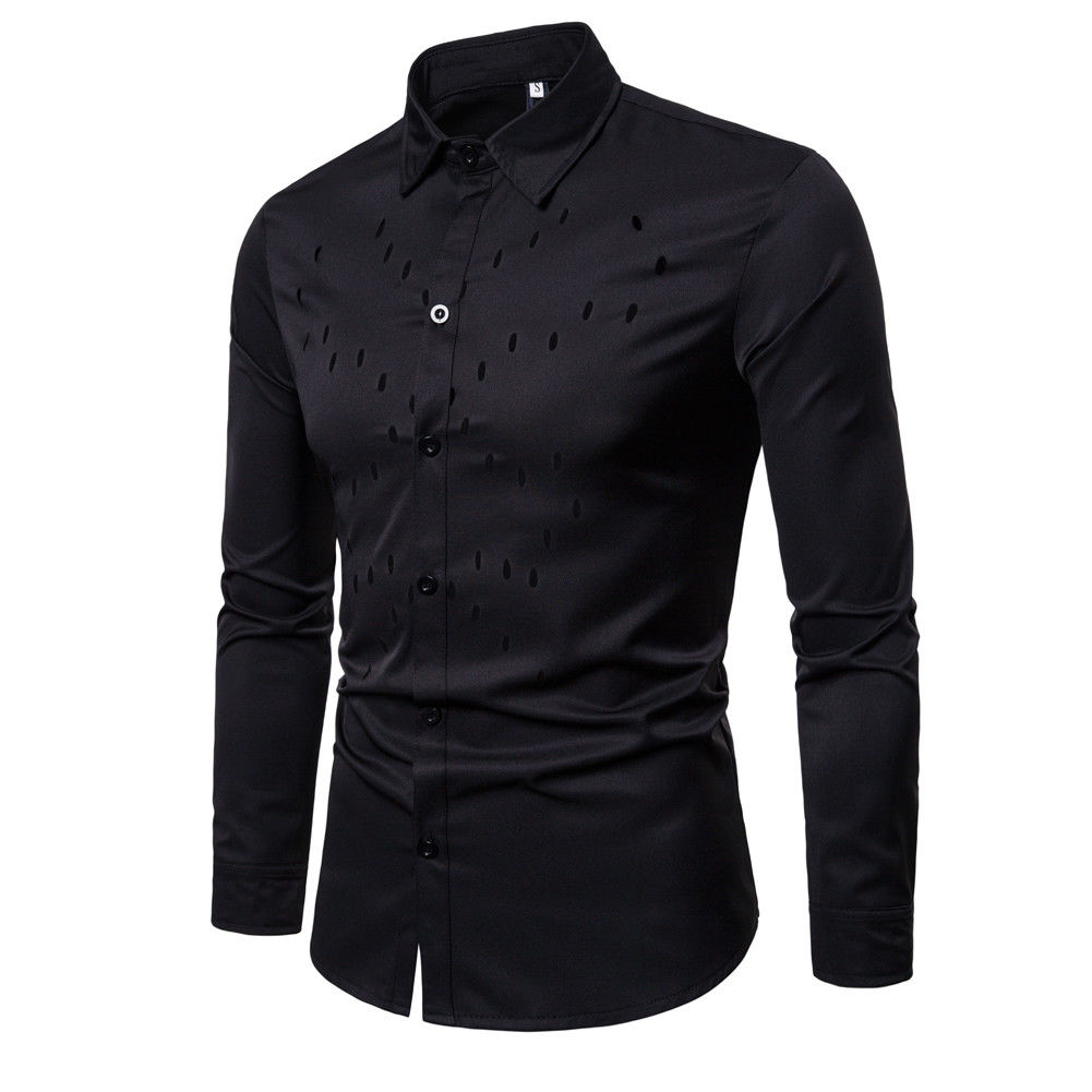 a31a6c4399c 2018 Latest Style Men s Luxury Stylish Business Casual Dress Suits Slim Fit  Shirts Long Sleeve Solid Tops