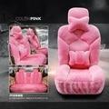 Mulheres bonito 2016 inverno curto pelúcia tampas de assento do carro simples ou completa conjunto assento de carro rosa protector fit para 95% carro para peoguot 1105-1