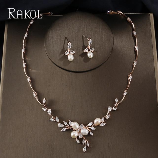 b3b7b28de RAKOL Top Quality Imitation Pearls Cubic Zirconia Flower Rose Gold Color  Wedding Necklace Stud Earrings Jewelry Set For Women