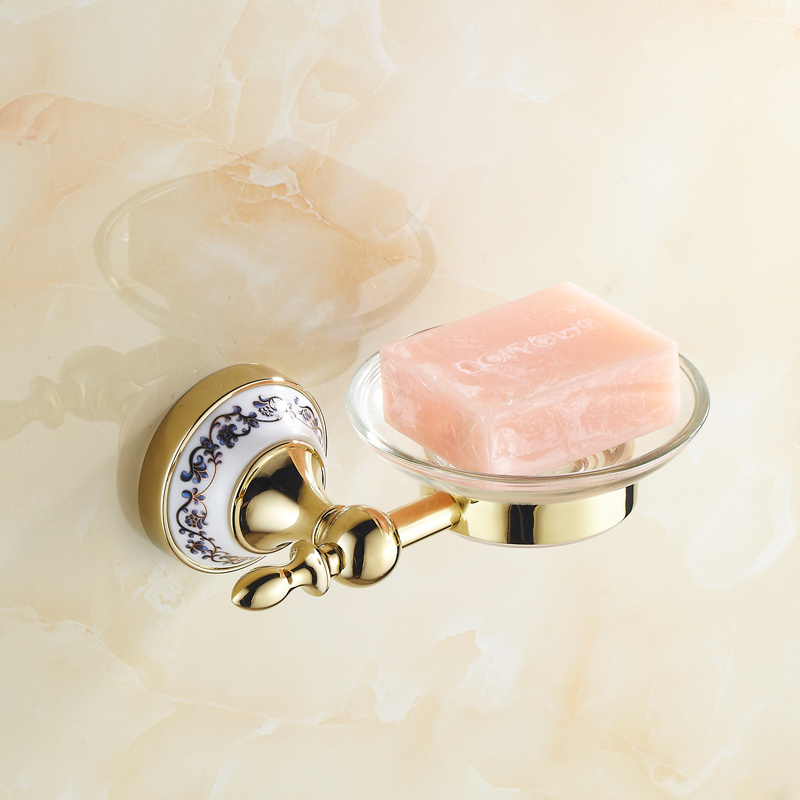 Bathroom accessories Golden soap dish holder wall mounted soap holder brass luxury bathroom hardware set