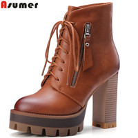 Asumer new fashion women boots lace up platform winter boots soft pu leather thick high heels ankle boots female shoes