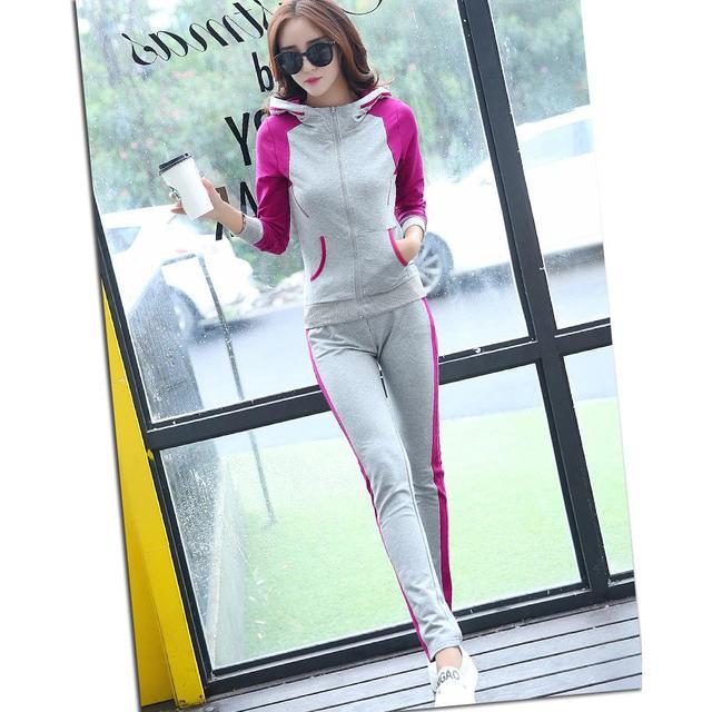 2017 Nova Moda Causal Roupas 2 Piece Mulheres Camisola Hoodies Ternos Definir fatos de Treino de Algodão Sportwear Plus Size