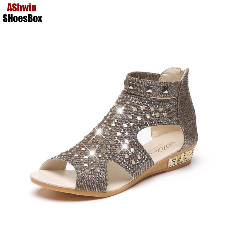 summer autumn woman gladiator sandals high top crystal rhinestones zip flats bohemia beach shoes T-strap ankle rivets woman shoe