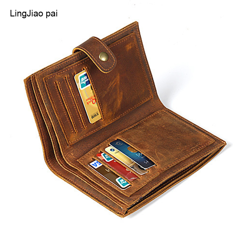 LingJiao Pai Leather Brown Solid Men Wallets Travel Purse Card Cover Clutch