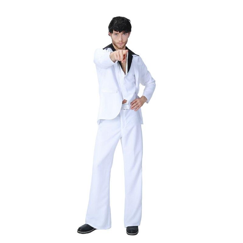 1e4922ee9a71 Uomo adulto 70 s Bianco Vestiti Dei Vestiti di Ballo Latino Costume  Divertente Hip Hop Carnevale Vestito Per Sabato Sera Febbre Suit Costume in Uomo  adulto ...