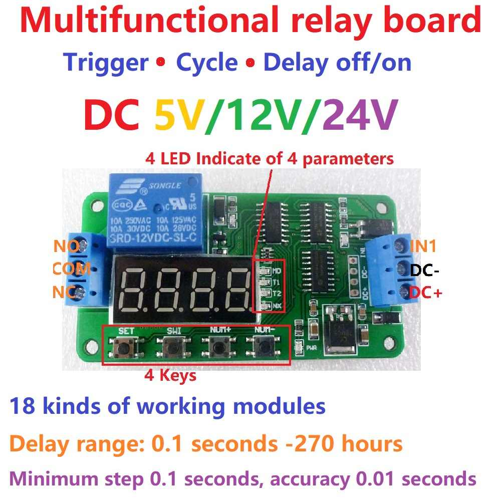 DC 5 V 12 V 24 V Multifungsi Delay Relay Time Switch Turn On/Off PLC Modul