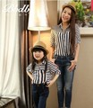 2 pçs/lote 2016 novas camisas de manga longa para combinar mãe e filha roupas camisa listrada verão e primavera frete grátis