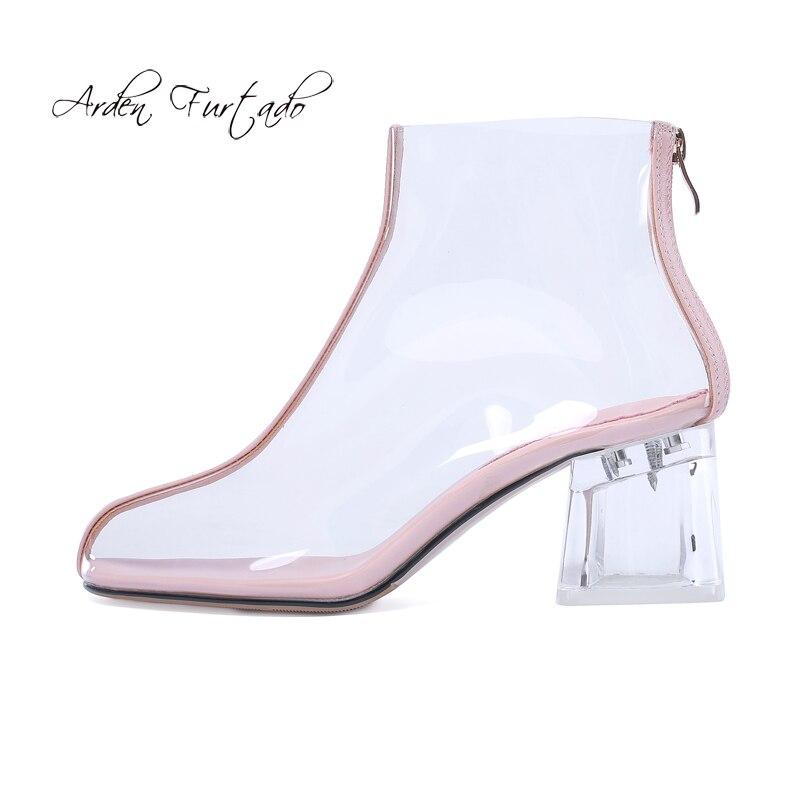 D'été Taille Transparent Bottes Au 2018 6 Dos Talons Arden silver Celar Argent Glissière Rose Cheville Grande Pvc Chunky Chaussures 43 Nouveau Pink Cm Furtado OXPZiuTk