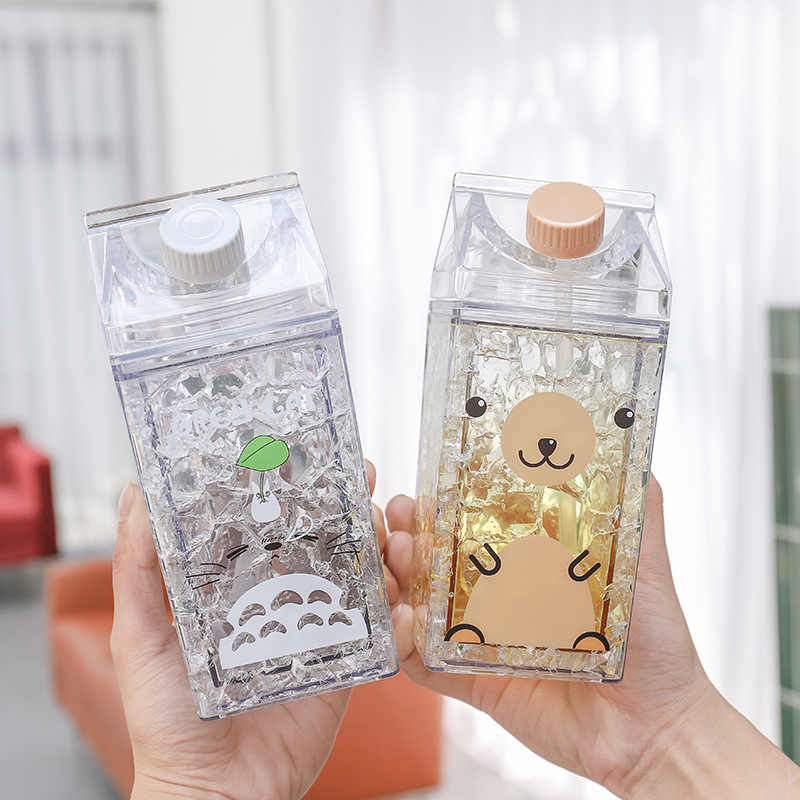 400ml Square Kawaii Water Bottle Cartoon Milk Box Double Straw Plastic Cup Water Cup Crystal Kids Water Bottle Milk Bottle Flat