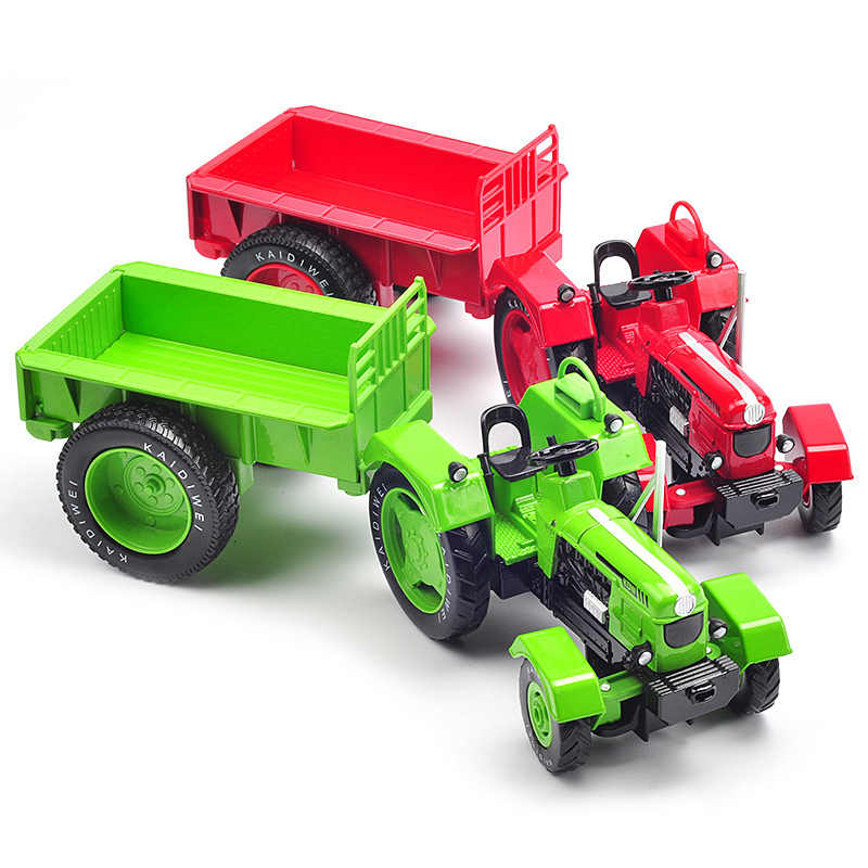 Alloy Diecast Traktor Pertanian Truk 1:18 Roda dan Catepillar dengan Trailer Retro Model Mobil Koleksi untuk Anak-anak Hobi Mainan