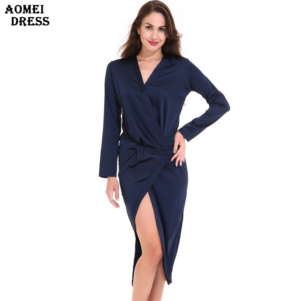 Womens Casual Wrap Mini Dress,Long Sleeve Bodycon Deep V Neck Side Tie High Low Party Dresses,Fashion Style for Ladies