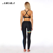 AMOMA Women Fitness Leggings Pattern Print High Waist Elastic Slim Legging Pants Rainbow