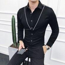 d804416586 2018 Nuovi Uomini di Autunno Della Camicia di Vestito Manica Lunga Nero  Bianco Aderente Camicia Maschile Uomini di Stile Coreano.