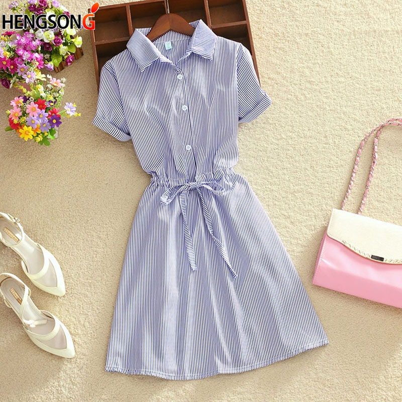HENGSONG Fashion Elegant Women Shirt Dress Women Summer Office Wear Stripped Dress Fresh Students Dress 718455