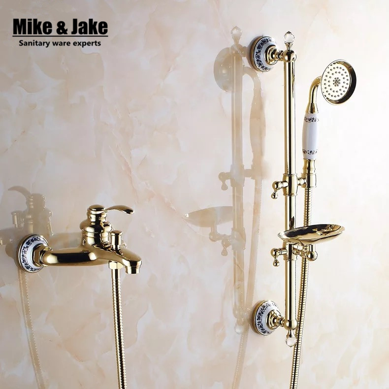 Bathroom golden shower mixer set with shower bar bathtub mixer set with soap holder gold Bath Shower Faucet set 9107GBathroom golden shower mixer set with shower bar bathtub mixer set with soap holder gold Bath Shower Faucet set 9107G