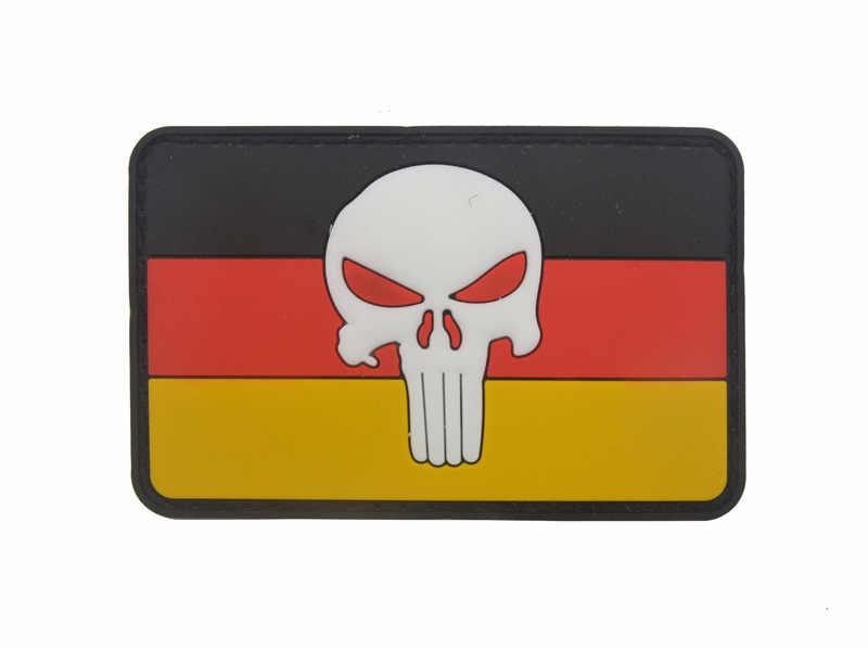 Łatka gumowa z PVC flaga niemiecka DEU czaszka niemiecka flaga niemiec Airsoft Paintball łatki odznaka dla kurtki plecak