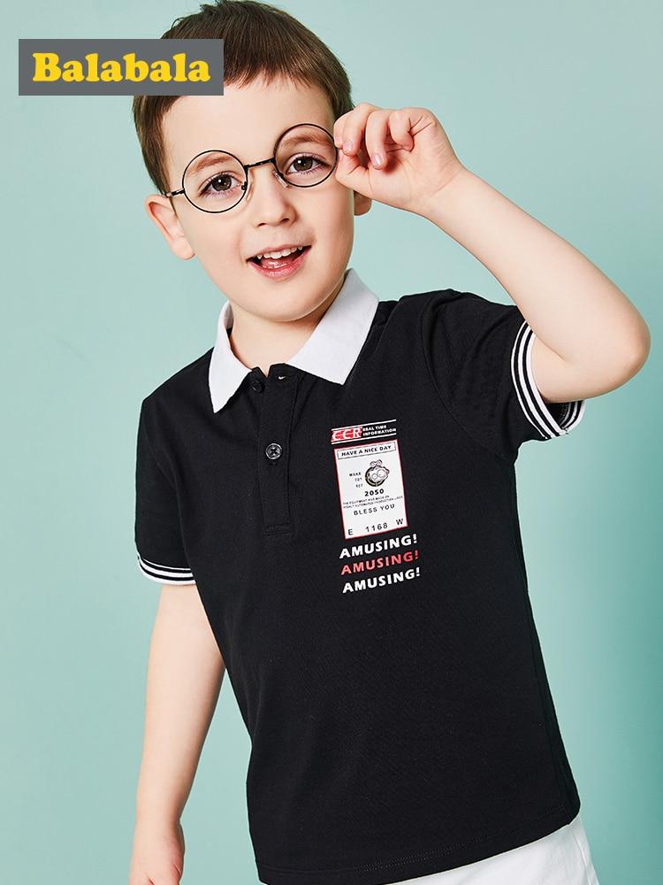 Balabala Boys T-Shirt Short-Sleeve Summer Kids Brand 100%Cotton Elegent
