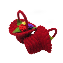 Wedding Decorations Heart-shape Ring Bearer Pillow&Satin Flower Girl Basket Decoration Supplies Set Valentines Day Gift