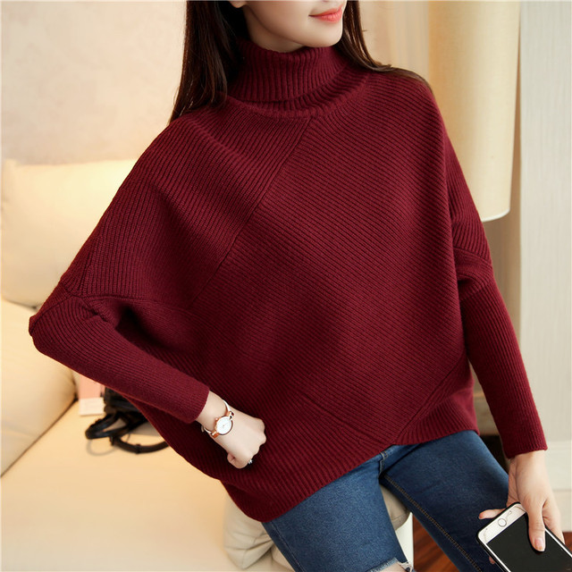 2017 Spring Winter Turtleneck Sweater Women Loose High Collar Bat ...